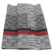 茱麗葉精品【全新預購】GUCCI 391530 雙G LOGO 喀什米爾羊毛流蘇長圍巾.灰/紅