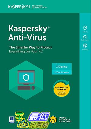 [7美國直購] 2018 amazon 亞馬遜暢銷軟體 Kaspersky Anti-Virus 2018 1 Device 1 Year PC Key Code