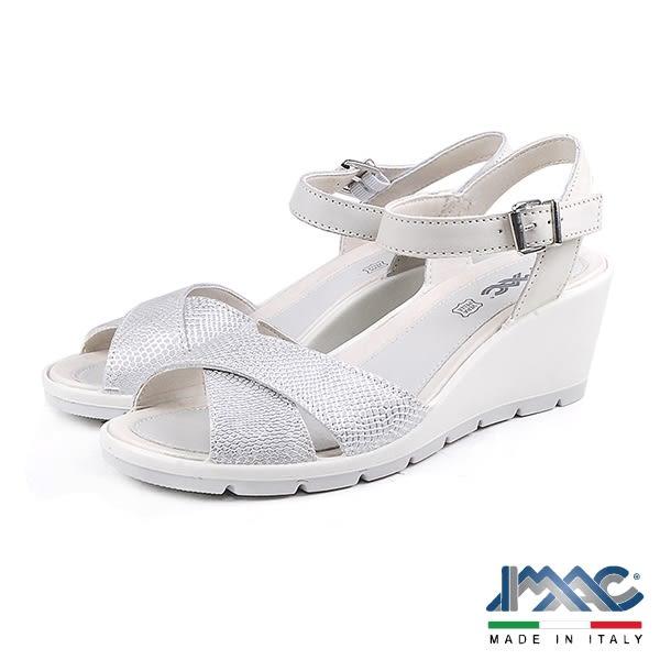 【IMAC】時尚交叉楔型低跟涼鞋  銀灰色(72650-GRY)