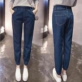 快速出貨 牛仔哈倫褲女大尺碼 寬鬆學生休閒鬆緊腰小腳九分褲