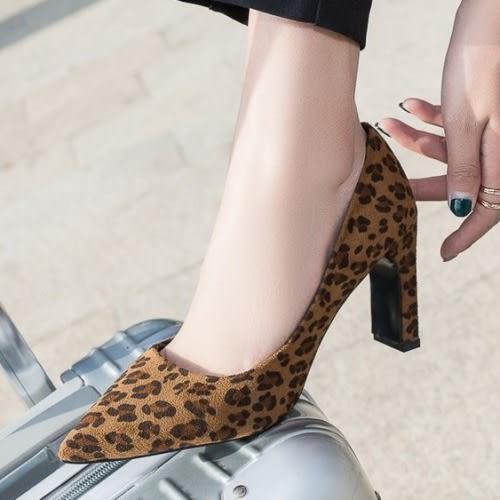 【35-43全尺碼】高跟鞋.時尚滿版豹紋尖頭高跟鞋.白鳥麗子