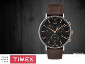 【時間道】TIMEX天美時 經典簡約三眼計時腕錶– 黑面深棕皮(TW2T11500)免運費