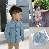 男寶寶春裝2歲男童丹寧襯衣翻領打底衫