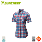 【Mountneer 山林 女 彈性抗UV格子襯衫《紅》】31B02/短袖襯衫/防曬短袖/抗UV/戶外
