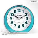 ORIENT 東方錶 連續秒針/靜音秒針 簡約雙色 電子音 數字鬧鈴 鬧鐘 貪睡AQ-346藍