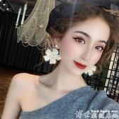 熱賣耳環奢華高級感夸張水晶花朵耳環潮歐美韓國網紅氣質大耳釘女