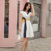 韓系洋裝.禮服.女裝夏季性感疊襟V領撞色拼接束腰帶無袖傘擺連身裙386GT525依佳衣