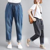 大尺碼女裝胖mm休閒牛仔洗水鬆緊腰斜插口袋韓版舒適減齡九分褲