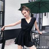 韓版時尚網紅套裝小心機寬鬆無袖T恤 繫帶半身裙褲兩件套女夏 莫妮卡小屋