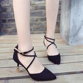正韓中空涼鞋女單鞋一字扣綁帶尖頭黑色細跟鞋  蒂小屋服飾 618來襲