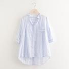 條紋襯衫女2021夏裝新款寬鬆韓版很仙的七分袖棉麻上衣洋氣設計感 設計師