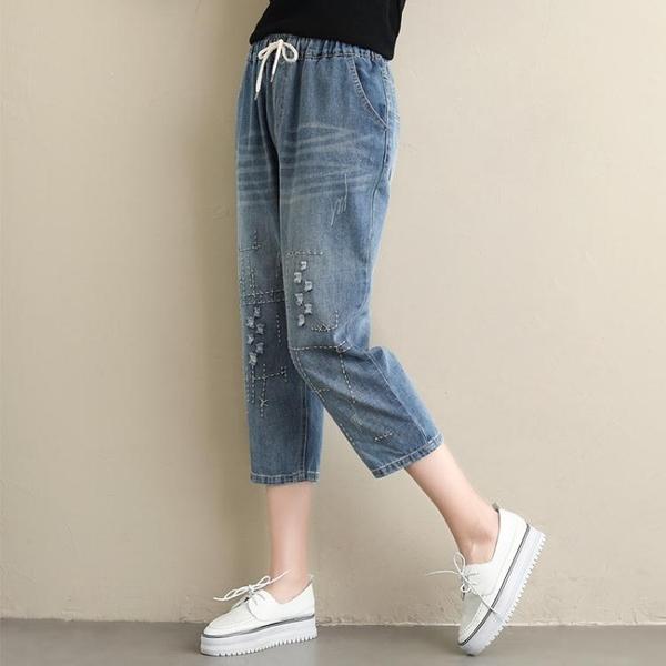 夏季新款韓版大碼胖妹妹繡花牛仔七分褲女顯瘦百搭松緊腰哈倫褲潮
