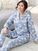 春秋季中老年中年長袖空氣夾層純棉睡衣女秋冬加厚媽媽家居服套裝