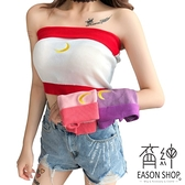 EASON SHOP(GW2336)實拍平口月亮刺繡短版露肚臍露肩露背無袖針織小可愛女上衣服彈力貼身內搭衫背心