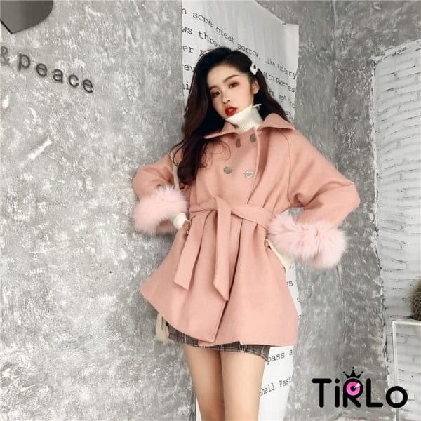 外套-Tirlo-名媛感毛毛斗篷腰帶設計外套-三色