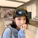 2021新品促銷 韓版百搭街頭反戴鴨舌帽子女ins小眾黑色眼鏡飛行員棒球帽男