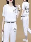 夏天運動服套裝女2021年春夏新款潮牌時尚短袖冰絲棉麻休閒兩件套『潮流世家』