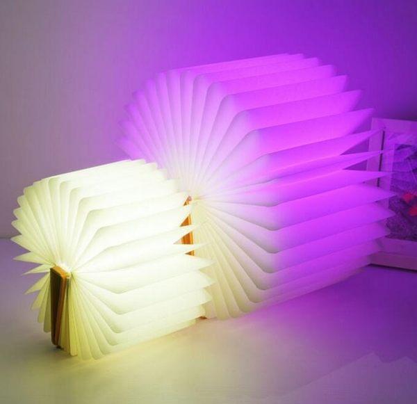 現貨 led翻頁書本燈 折疊小夜燈 充電款五彩變色燈BA13003