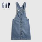 Gap女童 純棉鈕釦吊帶牛仔裙 676737-中度水洗