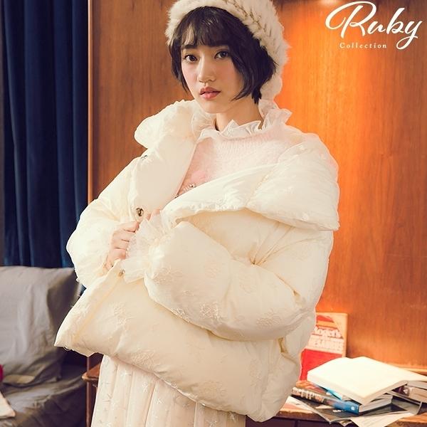 外套 刺繡蕾絲綁帶羽絨外套-Ruby s 露比午茶