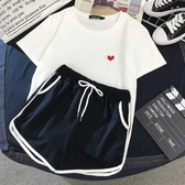 短袖套裝 夏季新款純棉短袖T恤女 短褲休閑運動套裝學生網紅閨蜜兩件套 曼慕衣櫃