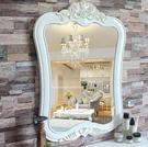歐式復古浴室鏡衛生間化妝鏡子衛浴半身鏡美容院梳妝鏡子  小號描金