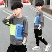 兒童裝男童春裝t恤新款中大童男孩春秋季套頭長袖上衣韓版潮 至簡元素