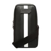 【台中米蘭站】全新品 BALLY Tanis 黑白條紋帆布單肩斜背包(6224082-黑)
