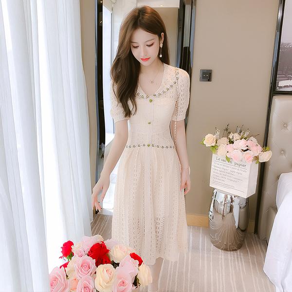 超殺29折 韓國風浪漫氣質蕾絲娃娃領收腰短袖洋裝
