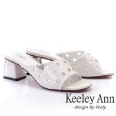 2019春夏_Keeley Ann造型透視跟 斜面點點鏤空拖鞋(白色)-Ann系列
