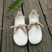 娃娃鞋春秋森系圓頭小白鞋平底兩穿娃娃鞋休閒文藝範學生鞋女單鞋潮 伊蘿鞋包