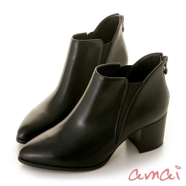amai極簡美型側彈性跟靴 黑