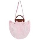 【南紡購物中心】LONGCHAMP LE PLIAGE FILET系列網狀棉質手提/肩背兩用包(淡粉)