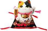 【金石工坊】大願福來睜眼貓(高9.5CM)招財貓 陶瓷開運桌上擺飾 撲滿存錢筒