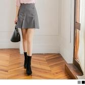 《CA1398-》雙排釦剪裁造型口袋褲裙 OB嚴選