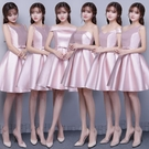 伴娘服短款2021新款春夏粉色緞面伴娘團禮服姐妹小禮服畢業晚禮服 幸福第一站