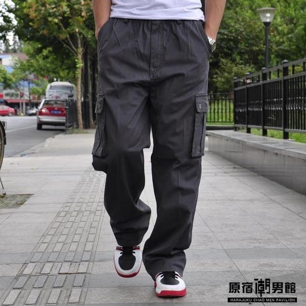 男士 加肥 加大碼 直筒 休閒褲 胖子 多口袋 工裝褲 春季 鬆緊腰 寬鬆 長褲