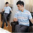 【大盤大】(P50873) 零碼M號 口袋 男士條紋POLO衫 台灣製 短袖休閒上衣 薄款 快乾涼爽 父親節