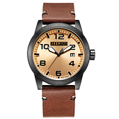 JEEP SPIRIT 自然率性休閒皮帶錶-黑框淺橘x咖啡色