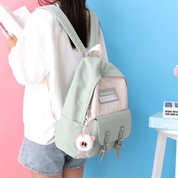 後背包 牛津布雙肩包女簡約撞色書包女正韓高中初中大學生背包女 Ballet朵朵