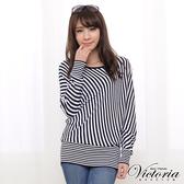 Victoria 不對稱條紋變化線衫上衣-女-丈青-V65022