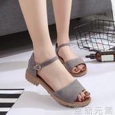 學生涼鞋女夏新款韓版時尚低跟涼鞋女士鞋子粗跟一字帶羅馬鞋 至簡元素