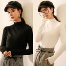 素色T恤 半高領純色加絨打底衫女秋冬新款2020黑色內搭長袖t恤上衣女春秋 鹿角巷