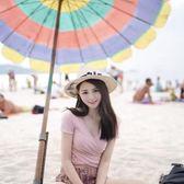 海灘帽 帽子女夏季遮陽草帽太陽帽草編寬檐禮帽海邊沙灘帽度假防曬帽潮 芭蕾朵朵