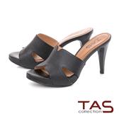 TAS鏤空剪裁蜥蜴壓紋高跟涼拖鞋-高貴黑