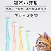 2只裝 寵物牙刷貓咪刷牙套裝小狗清潔牙齒除口臭尖頭軟毛貓咪牙刷【公主日記】