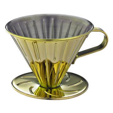 金時代書香咖啡  TIAMO V02 不銹鋼圓錐咖啡濾杯 (鈦金)附量匙濾紙  HG5034GD