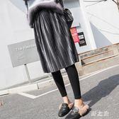 中大尺碼裙褲 秋冬新款褲裙加絨加厚壓褶中長裙大擺假兩件外穿 nm14222【野之旅】