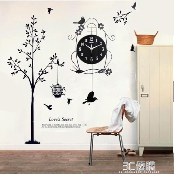 鐘錶掛鐘客廳靜音個性家用小鳥時鐘創意現代裝飾大氣臥室時尚掛錶HM 聖誕節全館免運