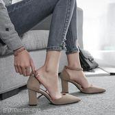 高跟鞋 尖頭單鞋女新款秋季女鞋粗跟黑色百搭淺口鞋一字扣帶高跟鞋女 維科特3C